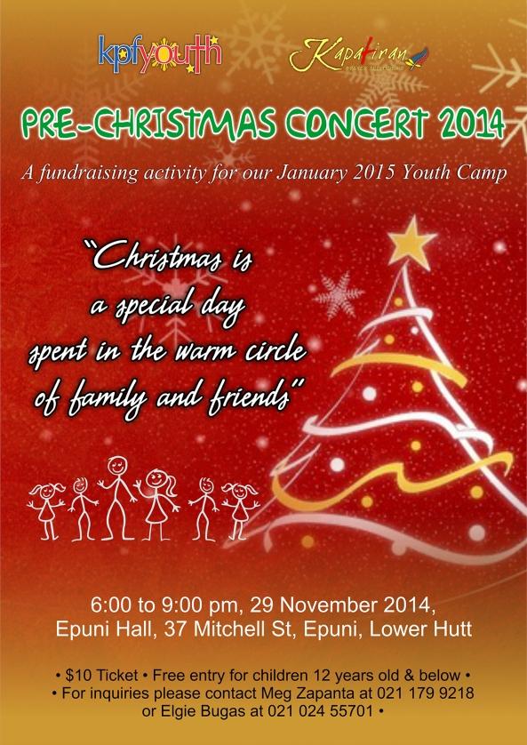 KPF Youth Pre-Christmas Concert Poster 2014